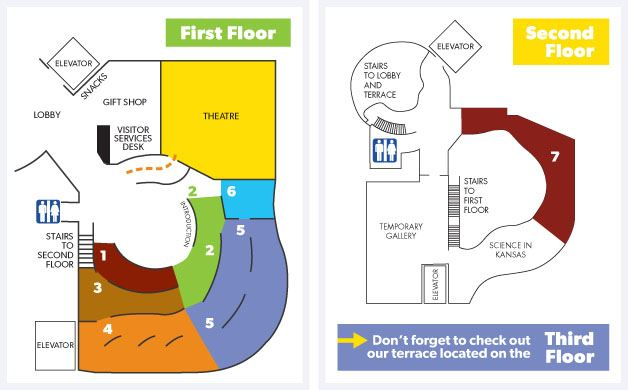 A floor plan of the Flint Hills Discovery Center