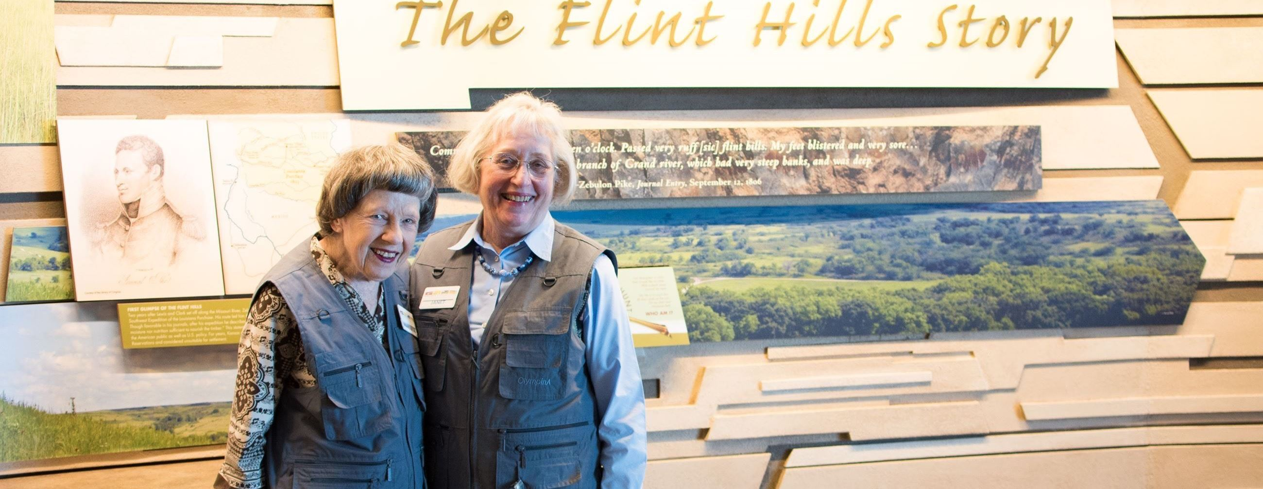 Two volunteers at the Flint Hills Discovery Center