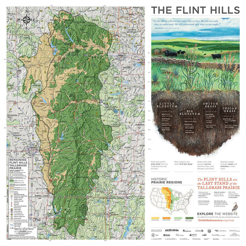 A map of the Flint Hills with educational text geared for elementary school audiences.