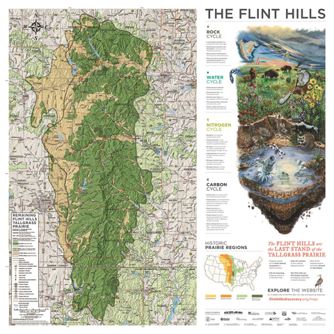 A map of the Flint Hills with educational text geared for middle school audiences