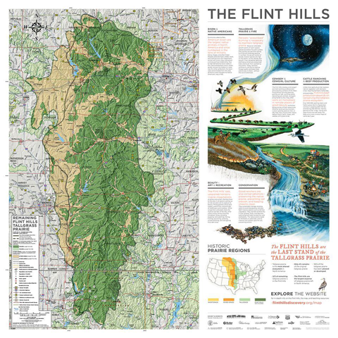 A map of the Flint Hills with educational text geared for high school and college audiences.